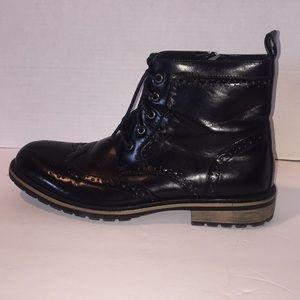 Steve Madden Leather Black Ankle Boots  10.5